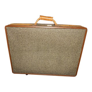 Large Hartman Leather & Tweed Pullmans Suitcase Luggage