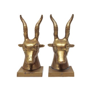 Brass Gazelle Bookends - Pair