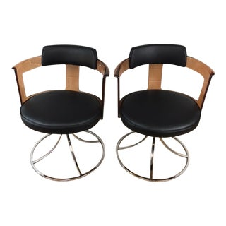 Acrylic Chrome & Leather Swivel Side Chairs - A Pair