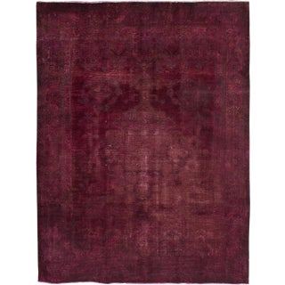 "Vintage Persian Overdyed Burgundy Rug- 7'10"" x 10'3"""