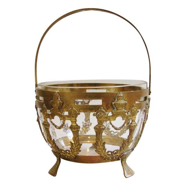 Antique Brass Filigree & Crystal Basket - Image 1 of 10