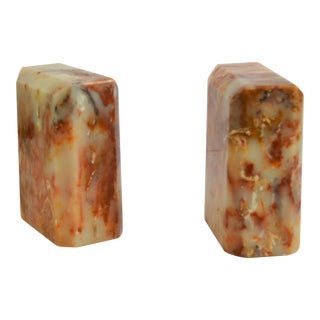 1970s Stone Marble Green Onyx Bookends - A Pair