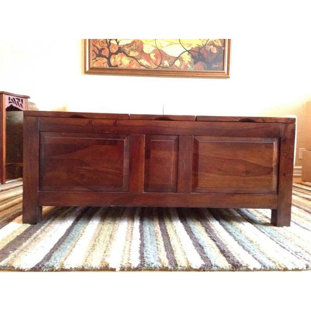 Contemporary Carved Walnut Coffee Table Chest