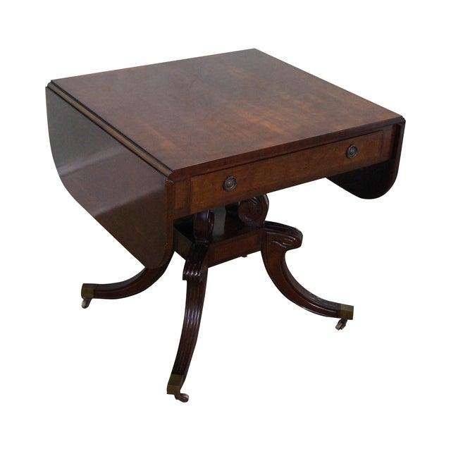 Custom English Regency Style Drop Leaf Side Table - Image 1 of 10