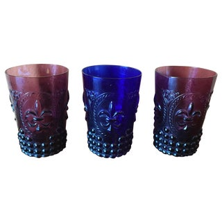 Vintage Fleur De Lis Hobnail Glasses-Set of 3