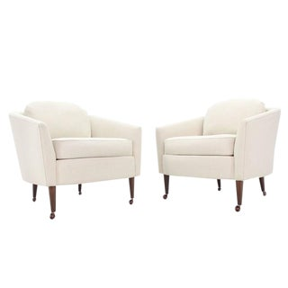 Pair of Mid-Century Modern Barrel Back Chairs New Upholstery