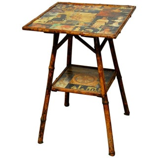 English Scorched Bamboo Decoupage Table
