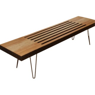 Handcrafted Modern Slatted Wooden Bench