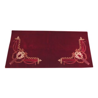 Vintage Red Velvet Embroidery Throw