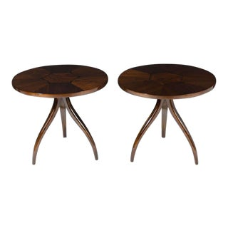 Drexel Inlaid Top Tripod Gueridon Tables - a Pair