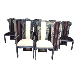 Goatskin Parchment Dining Chairs - Set of 10