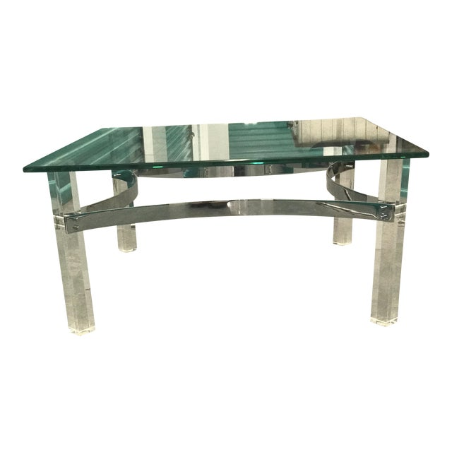 Mid-Century Lucite & Chrome Coffee Table - Image 1 of 6