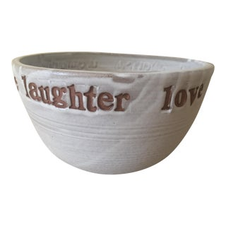 "Off-White Ceramic ""Celebration"" Bowl"