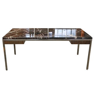 Vintage Custom Inland Steel Co Marble & Steel Desk