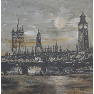 "C. Plowden ""Houses of Parliament, London"" Painting"