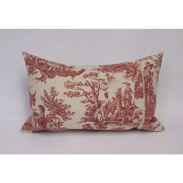 Red & Cream Toile Deconstructed Pillow - Image 2 of 5