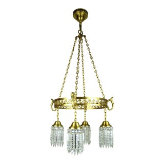 Neoclassical Brass Ring-Fixture with Notched Crystal