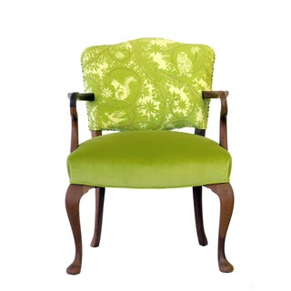 Upholstered Green Velvet Occasional Chair