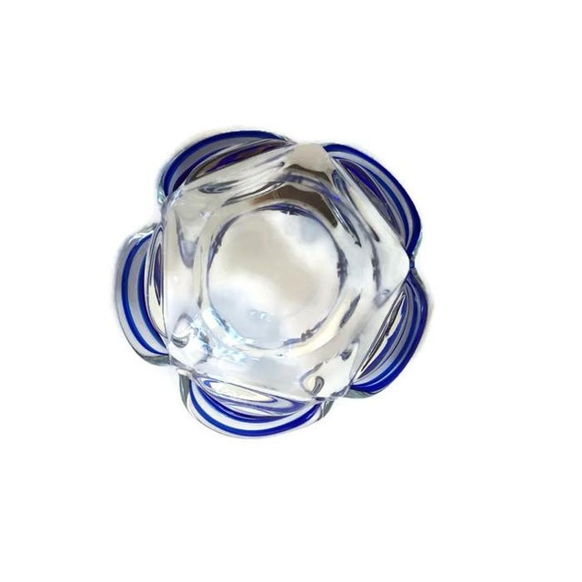 Vintage Murano Style Petal Bowl Blue Striped - Image 2 of 6