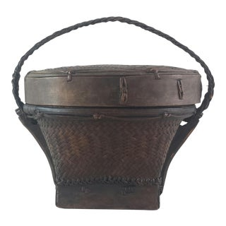 Vintage Asian Lidded Carrying Basket