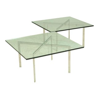 Pair KP Branded Barcelona Side tables by Ludwig Mies van der Rohe for Knoll