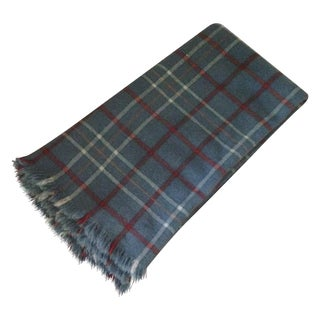 Vintage Plaid Wool Blend Blanket
