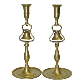 Circa 1850s English Brass Tavern Candlesticks- A Pair
