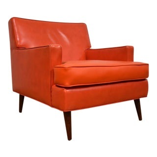 Mid-Century Modern Orange Vinyl Lounge Chair