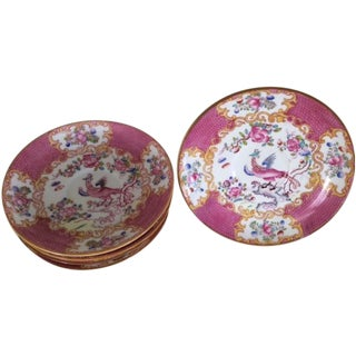 Antique Minton Chinois Pink Pattern Saucers - S/6