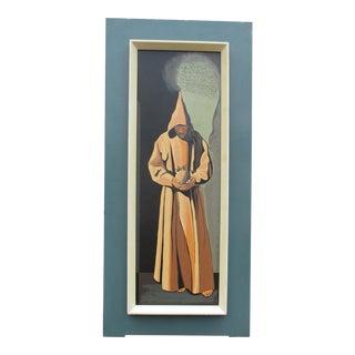 "1976 ""The Monk De Zurbarab"" Framed Painting Skull Famous Painting"