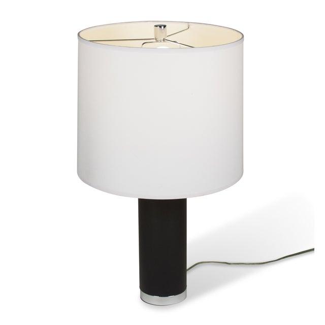 Ralph Lauren Black Leather & Chrome Table Lamp - Image 6 of 8