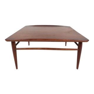 Mid-Century Modern Square Walnut Coffee Table by Bassett
