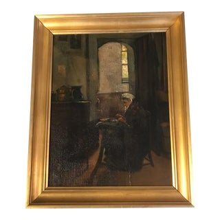 Eli D. Maybee Intimate Domestic Scene Oil Painting