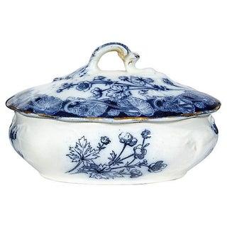 English Blue Floral Server