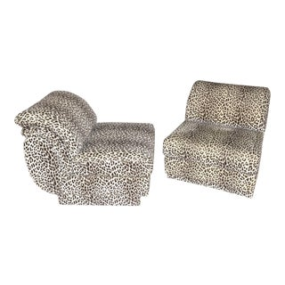 Vintage Contemporary Leopard Club Chairs - Pair