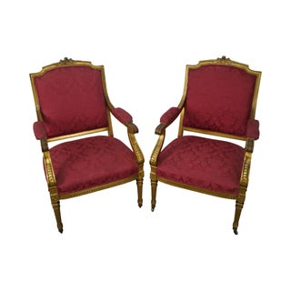 Antique 19th Century French Louis XVI Style Gilt Wood Arm Chairs - A Pair