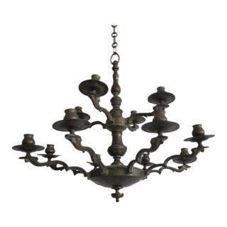 Classic Italian Bronze Double Level Chandelier