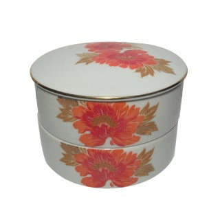 Nesting White & Orange Chinoiserie Catchall Dishes