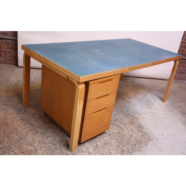 Alvar Aalto Birch Dining or Writing Table with Blue Top and Cabinet - Image 2 of 11