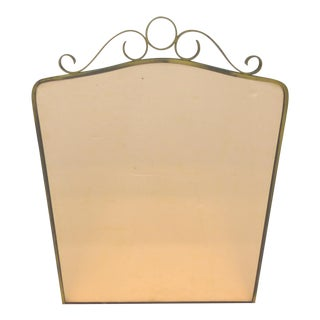 Art Deco Brass Peach Glass Wall Mirror