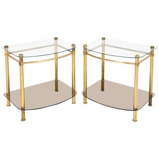 Vintage Brass and Glass Side Tables - a Pair