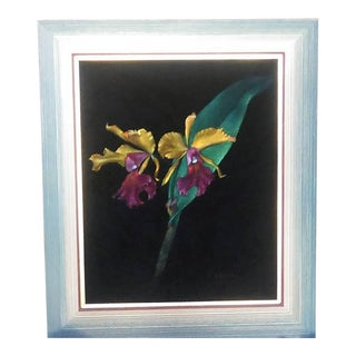 Mid-Century Orchid Black Velvet Painting
