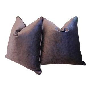 Custom Tailored Eggplant Purple Velvet Feather/Down Pillows - Pair