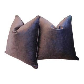 Custom Tailored Eggplant Purple Velvet Feather/Down Pillows - Pair