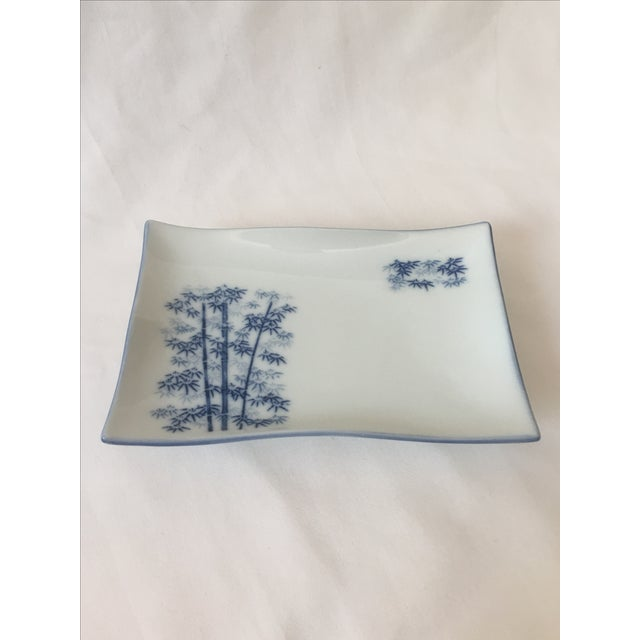 Chinoiserie Blue & White Bamboo Motif Catchall - Image 2 of 6