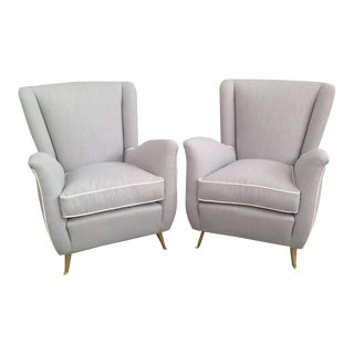 Gio Ponti Brass Legged Armchairs - A Pair