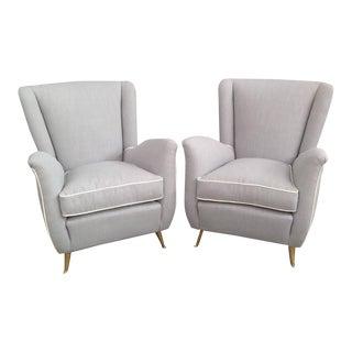 Gio Ponti Style Brass Legged Armchairs - A Pair
