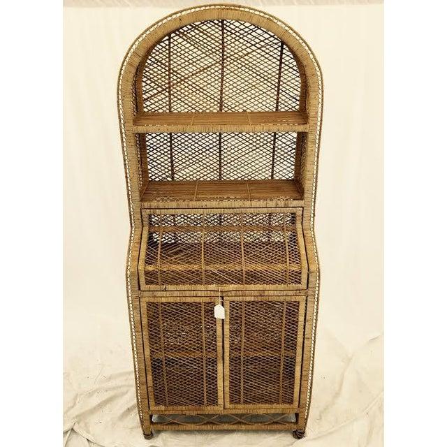 Vintage Woven Wicker Secretary Desk Amp Bookcase Chairish