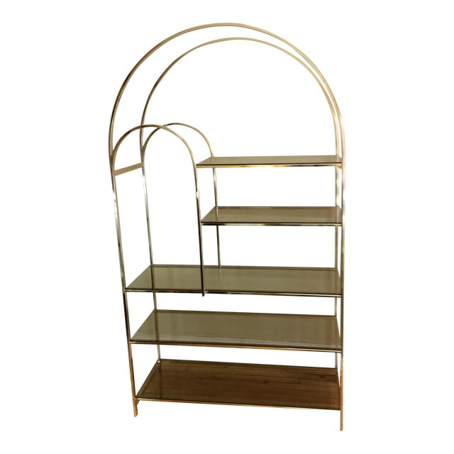 Hollywood Regency Double Waterfall Brass Etagere - Image 1 of 10
