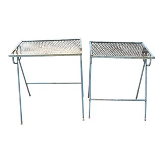 Vintage Green Steel Side Tables - a Pair